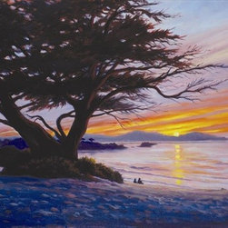 """Sunset at Carmel Beach 16x20 Print - """"Sunset at Carmel Beach"""" is a canvas giclee by Charles White. We present this to you in a roma brown vintage frame, making for an overall framed size of 20x24."""