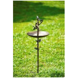 Quail Bird Feeder on Stake - Intricately crafted in aluminum with true to life detail, from climbing branch to perching quail.