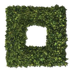 Uttermost - Uttermost 60109 Preserved Boxwood Square Wreath - Uttermost 60109 Preserved Boxwood Square Wreath