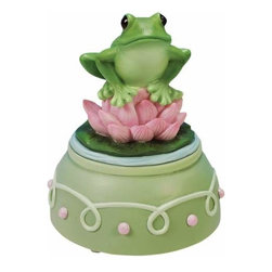 WL - 4 Inch Green Frog Musical Figurine with Pink Lotus Flower Lily Pad - This gorgeous 4 Inch Green Frog Musical Figurine with Pink Lotus Flower Lily Pad has the finest details and highest quality you will find anywhere! 4 Inch Green Frog Musical Figurine with Pink Lotus Flower Lily Pad is truly remarkable.