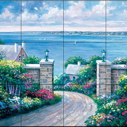 The Tile Mural Store (USA) - Tile Mural - Tranquility Bay - Kitchen Backsplash Ideas - This beautiful artwork by John Zaccheo has been digitally reproduced for tiles and depicts a colorful seaside scene.  Waterview tile murals are great as part of your kitchen backsplash tile project or your tub and shower surround bathroom tile project. Water view images on tiles such as tiles with beach scenes and Mediterranean scenes on tiles Tuscan tile scenes add a unique element to your tiling project and are a great kitchen backsplash idea. Use one or two of our landscape tile murals for a wall tile project in any room in your home for your wall tile project.