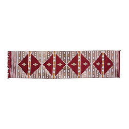 "Pre-owned Red and White Moroccan Berber Runner - This handwoven 9'6"" x 2'4"" Moroccan Berber kilim runner with a geometric pattern on a red background is fabulous. The perfect piece to spice up your Mid-Century Modern decor! Roll it out and watch the compliments file in."