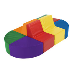 Ecr4kids - Ecr4Kids 8 Piece Softzone Sectional Soft Kids Play Set - Create a center of attention for any learning environment or playroom with this comfy softscape sectional. With bright, comfy seats in an island design, it is ideal for kids to rest, read, and do activities, both alone and as a group! All 8 separate pieces easily attach to create one large sectional, or separate to create your own configuration! Soft, sturdy, polyurethane foam is covered in reinforced, phthalate-free vinyl to create a comfy and stimulating reading and learning environment. Encourages social interaction.
