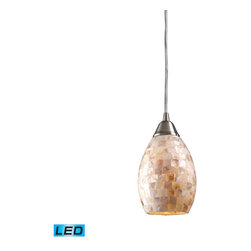 Elk Lighting - Elk Lighting Capri 10141/1-LED 1-Light Pendant in Satin Nickel - 1-Light Pendant in Satin Nickel belongs to Capri Collection by Elk Lighting Individuality Is What Defines This Exquisite Line Of Hand Blown Glass. Each Piece Is Meticulously Hand Blown With Up To Three Layers Of Uncompromising Beauty And Style. Pendant (1)