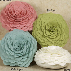 "Touch of Class - Eclectic Pillows - Mia's Flower Garden Round Petal Pillow, made of 100% polyester felt, features a front design comprised of fabric ""petals"" sewn on to form a large rose motif. Each decorative round flower pillow measures 13"" dia. Fill is polyester. Spot clean. Imported."