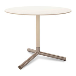 Blu Dot - Blu Dot Sprout Cafe Table, Ivory - Pure color and brushed stainless steel play well together. Satin finish tops and stems in your choice of yellow, ivory or black. Color peeks through the legs for a flirtatious touch. Lacquer on engineered wood substrate with satin finish, Brushed stainless steel base