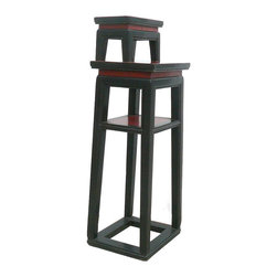 Golden Lotus - Chinese Black & Red Narrow Side Table Stand - This table stand is painted with black and red lacquer alternatively. It is a decorative functional piece for displaying accessories.