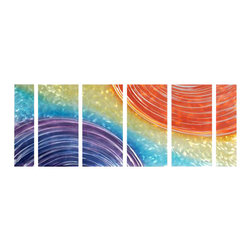 Pure Art - Enter the Rainbow Wall Art Set of 6 - Unique use of color and lines have been used to create an abstract piece of art to catch and entrance the eye. This six panel metal wall hanging brings a contemporary and modern look to any space. Each panel in the group has been hand painted on aluminum metal. Finished with a clear coat to seal and protect from scratching and other damagesMade with top grade aluminum material and handcrafted with the use of special colors, it is a very appealing piece that sticks out with its genuine glow. Easy to hang and clean.