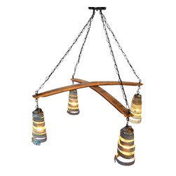 Wine Country Craftsman - CROSS CHANDELIER - Intersect - Wine Barrel Ring Pendant Light - CROSS CHANDELIER - Intersect - Wine Barrel Ring Pendant Light