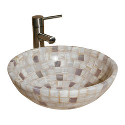 """The Allstone Group - L-VMR-SR-16WL Polished #3 Vessel Sink - Natural stone strikes a balance between beauty and function. Each design is hand-hewn from 100% natural stone.  Allstone mosaic vessel sinks are our only product that is not carved from one single piece of stone.  Onyx was used in Egypt as early as the Second Dynasty to make bowls and other pottery items. Onyx is also mentioned in the Bible at various points, such as in Genesis 2:12 """"and the gold of that land is good: there is bdellium and the onyx stone"""", and such as the priests' garments and the foundation of the city of Heaven in Revelation."""