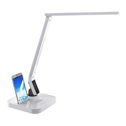 "Lamps Plus - Contemporary Euri White LED Desk Lamp with Android Phone Dock - Multi-function LED desk lamp with Android phone docking port. Sleek white finish. Durable molded plastic construction. 9-step dimming slide touch control. Anti-glare design; over 90 CRI. 180 degree axis rotation. 40 degree parallel arm adjustment. 140 degree lamp head adjustment. Smart control panel offers 4 light spectrum color temperature modes - read mode (4500K - 5500K); study mode (5500K - 6700K); relax mode (2700K - 3700K); sleep mode (2700K - 3300K). Built-in USB port for charging all smart phones. Includes integrated LED modules (11 watts total). 1-year limited manufacturer's warranty. 18"" high (at full extension). 7 3/4"" wide. 7 3/4"" deep.  Multi-function LED desk lamp with Android phone docking port.  Sleek white finish.  Durable molded plastic construction.  9-step dimming slide touch control.  Anti-glare design; over 90 CRI.  180 degree axis rotation.  40 degree parallel arm adjustment.  140 degree lamp head adjustment.  Smart control panel offers 4 light spectrum color temperature modes - read mode (4500K - 5500K); study mode (5500K - 6700K); relax mode (2700K - 3700K); sleep mode (2700K - 3300K).  Built-in USB port for charging all smart phones.  Includes integrated LED modules (11 watts total).  1-year limited manufacturer's warranty.  18"" high (at full extension).  7 3/4"" wide.  7 3/4"" deep."