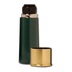 Stansport - Shotshell Thermo Bottle 25oz - 12GA Shotshell Thermo Bottle.  Double wall 18-8 stainless steel insulated construction (BPA free).  Keeps drinks hot or cold for up to 24 hours.  Insulated cap.  One touch stopper.  Wide base cup is tip proof.  Color:Green 25 oz. 3-cup capacity  This item cannot be shipped to APO/FPO addresses. Please accept our apologies.
