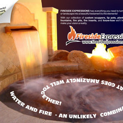 Custom Water Features - Scuppers, fire lines, pumps, and more! Fireside Expressions completes your decorative landscaping projects!