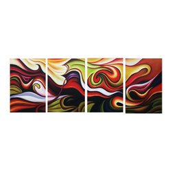 DESIGN ART - Integration Multi-Color Abstract Hand-painted 4-piece Painting - Title: Integration Multi-Color Abstract hand-painted 4-piece set Product type: Hand-painted oil on canvasStyle: Contemporary