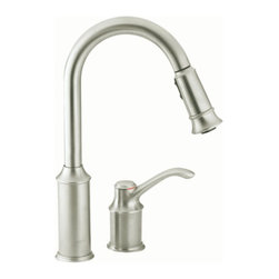 "Moen - Moen 7590CSL Aberdeen Single Handle High Arc Pullout Kitchen Faucet in Classic S - Moen 7590CSL Aberdeen Single Handle High Arc Pullout Kitchen Faucet in Classic StainlessThe Aberdeen line features a classic style but with surprisingly nimble functionality. Aberdeen faucets feature a high arc, pull-down spout with a one-of-a-kind pause button that allows the user to conveniently interrupt water flow.Moen 7590CSL Aberdeen Single Handle High Arc Pullout Kitchen Faucet in Classic Stainless, Features:• High-arc spout provides more clearance to fill or clean large pots while the pulldown feature provides the infinite maneuverability for cleaning or rinsing• Single Lever Handle• Hydrolock quick connect installation• Convenient single-button actuation provides flexibility to switch from stream to spray mode• Spout height: 15""• Spout reach: 8 1/2""• 2-hole application• Pause button temporarily stops the flow of water• Flexible supply lines with 3/8"" compression fittings• Pullout spray with 68"" braided hose• ADA Compliant• 2.2 GPM (8.3 l/min) maxMoen Installation Instructions  Moen Limited Lifetime WarrantyManufacturer: MoenModel Number: Moen 7590CSLManufacturer Part Number: 7590CSLCollection: AberdeenFinish Code: Finish: Classic StainlessUPC: 026508198933This product is also listed under the following Manufacturer Numbers and Finish Codes:Moen-7590CSL        7590CSL        Moen 7590CSL        MO7590CSLProduct Category: Kitchen FaucetsProduct Type: Pullout Spray Kitchen Faucet"