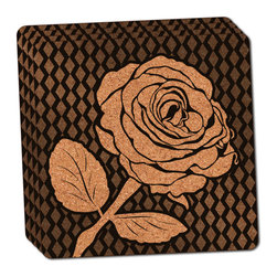 """Made on Terra - Elegant Rose Black Thin Cork Coaster Set of 4 - You're just cleaning up after your epic party when you realize it... something's different. Unlike all those other times, you're not mopping up cup condensation from your counters and tables. This time, everyone used a coaster. Everyone. Maybe it's because you handed out a coaster with every glass. No. You've tried that before. No, this time it's because of the actual coasters. You found the cutest Made On Terra printed cork coasters. You love that everyone commented on how unique they were,  from the light-weight, thin cork material to the printing that creates a cool and subtle effect. Plus, they're really absorbent, but dry quickly. And they're made from an eco-friendly, sustainable resource, so that makes you feel pretty great, too. Choose from Made on Terra's many fabulous cork coasters. Measures 4"""" x 4"""" x 1/8"""". Made of thin cork. Super cute and nicely absorbent. Sold in sets of four."""