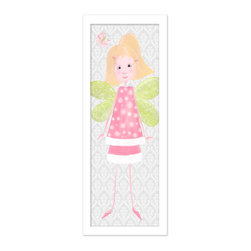 """Doodlefish - Caroline in White Frame - Caroline is sweet blonde fairy that is a signature of Doodlefish Artist Regina Nouvel.  Her light pink skirt and top are trimmed in white fluff and covered in polka dots.  The background of this stretched canvas artwork is a soft grey damask pattern.  This pattern travels across all three pieces of this collection along with a pink and green butterfly.  The piece is finished 12x36. It is also available mounted and framed.   Framed, the finished piece measures 16"""" x 40""""."""