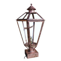 St. James Lighting - Biloxi Small Copper Post Mount Lantern - Biloxi Small Copper Post Mount Lantern. Not only are there several mounting choices, there are also different lighting options! An open flame gives the lantern a more natural look. Choose from a natural gas or a propane gas flame for a romantic light. With an open flame option, you can also operate the lantern with a light switch or other device. The electric option offers Edison Sockets or a Candelabra Cluster for a beautiful soft glow. With so many options, your sure find the perfect look for your home.