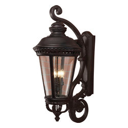Murray Feiss - Murray Feiss Castle Traditional Outdoor Wall Sconce X-KB5091LO - Beautiful scrollwork and intricate beadwork draws the eye in on this Murray Feiss outdoor wall sconce. From the Castle Collection, it features a dark but surprisingly rich Black finish over sturdy die cast aluminum construction. Four candelabra style lights and a clear bent beveled glass shade completes the look.