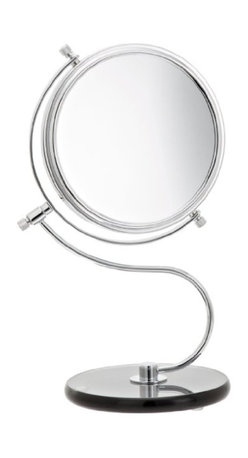 Jerdon JP826SBC 6-Inch Tabletop Two-Sided Swivel Vanity Mirror with 8x Mag - The Jerdon JP826SBC 6-Inch Tabletop Two-Sided Swivel Vanity Mirror provides magnification options to display a clean reflection and meshes post-modern and traditional stylinges in design to make this an item perfect for any bedroom or office. This two-sided circular mirror has a 6-inch diameter and features a smooth 360-degree swivel design that provides 1x and 8x magnification options to make sure every detail of your hair and makeup are in place. The JP826SBC stands 11-inches high, stands upright on countertops, vanities and tables, has a chrome finish that protects against moisture and condensation and an ebony glass base, polished to a perfect sheen and the surface adjusts to all angles for a dynamic vantage. The Jerdon JP826SBC 6-Inch Tabletop Two-Sided Swivel Vanity Mirror comes with a 1-year limited warranty that protects against any defects due to faulty material or workmanship. The Jerdon Style company has earned a reputation for excellence in the beauty industry with its broad range of quality cosmetic mirrors (including vanity, lighted and wall mount mirrors), hair dryers and other styling appliances. Since 1977, the Jerdon brand has been a leading provider to the finest homes, hotels, resorts, cruise ships and spas worldwide. The company continues to build its position in the market by both improving its existing line with the latest technology, developing new products and expanding its offerings to meet the growing needs of its customers.