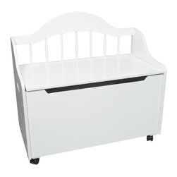 Gift Mark - Gift Mark Home Kids Children Deacon Bench Styled Toy Chest On Casters White - The Gift mark Deccan Bench Toy & Storage Chest is Beautifully detailed with a Spindle Back. This beautiful Piece can Also Functions as a Bench Seat, in any Room. This Multi-functional Solid Wood Deccan Bench Toy and Storage Box will add an element of sophistication to any Room. This Deccan Bench Toy and Storage Box can Later be used as a Storage Center, for Clothing and/or Linens. The Top lid has been designed with Special Safety Hinges to support the Lid, to Prevent accidental closures onto little Fingers. We have Designed the Front with Safety-Finger Cut-outs to protect little fingers from getting Pinched. Comes complete with all Tools for Assembly. Comes with Casters to make it easy to Move. Easy to Assemble.