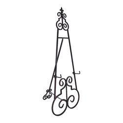 Zeckos - Decorative Metal Fleur de Lis Display Easel 52 In. - This wonderful wrought iron art display easel has an aged brown enamel finish that complements most decor. The top has a fleur de lis embellishment, and the easel measures 52 inches tall, 20 1/4 inches wide, and opens up to 15 inches deep. It also has 3 inch deep display holders that can be set from 10 to 27 inches off the ground, so your sign, display or artwork will fit perfectly. It holds about 35 pounds without any problems. It's great for galleries, theaters, office buildings or homes. The easel assembles in seconds, with no tools required.