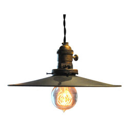 """The Pepin Shop - Metal Filament 10"""" Pendant Age Steel - Original Lamps from 20th-century industrial lighting."""