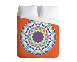 Karen Harris Mod Medallion Mulberry Twin Duvet Cover - Do you dream in color? You'll surely start when you bed down beneath this brilliant duvet cover. Got a set of patterned sheets? Simply flip it to the solid white side.