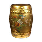 Oriental Furniture - Golden Garden Stool - Hand-crafted by a small community of artisans in the Guangdong province of mainland China, this breathtaking garden stool is evidence of their mastery of their trade. Inspired by Chinese craftsmanship of the 18th Century, each stool has been covered in authentic gold leaf, hand-painted with birds and flowers, and finished with a rich, clear lacquer. Use it as a seat, plant stand, side table, or a truly unique and one-of-a-kind display piece.