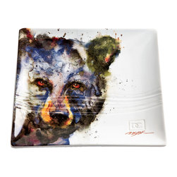 "Bear Snack Plate - Featuring a watercolor black bear by artist Dean Crouser the square stoneware Bear Snack Plate has a grooved design. Dishwasher and microwave safe. Measures 7""W x 3/4""D x 7""H."