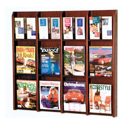 "Wooden Mallet - Twelve Magazine and 24 Brochure Oak and Acrylic Wall Display with Optional Floor - Wooden Mallet's oak and acrylic wall displays will add warmth and class to your magazine and literature collection. Clear acrylic panels allow full view of literature while keeping it neat and organized. Available in three designer colors to coordinate with any dcor. Add our optional floor stand to create a floor display. Features: -Available in light oak, medium oak or dark red mahogany finishes. -Furniture quality construction with solid oak uprights and clear acrylic pocket front panels. -Wood finishes perfectly compliment Wooden Mallet's Dakota Wave furniture collections. -All racks are predrilled with hardware included for simple wall mounting. -Optional floor stand sold separately. -No assembly required. -Removable pocket inserts are provided with all LM models. These inserts can be snapped onto the acrylic fronts to separate each magazine pocket into two, four-inch brochure pockets. There are enough pocket inserts provided to separate all magazine pockets.. -All Wooden Mallet products are warrantied for one year against defects in materials and workmanship. Specifications: -Pocket Dimensions: 12"" H x 9"" W x 2"" D, removable dividers reduce pockets to 4.5"" W for brochures. -Rack Dimensions: 36.75"" H x 40"" W x 3"" D."