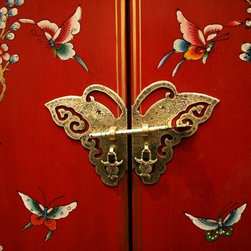 Wallmonkeys Wall Decals - Butterfly Door on Chinese-style Furniture Wall Mural - 18 Inches W x 12 Inches H - Easy to apply - simply peel and stick!