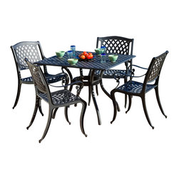 Great Deal Furniture - Marietta 5pc Outdoor Cast Aluminum Dining Set - The Marietta dining set is a beautiful addition for your outdoor decor. Made from cast aluminum, the set includes four (4) dining chairs and one (1) mesh table. The features include a mesh back and seat rest and the table also features a patio umbrella opening. The antique black and sand finish is neutral to match any outdoor furniture and will hold up in any weather condition. Whether in your backyard, patio, deck or even your restaurant outdoor dining space, you'll enjoy this set for years to come.