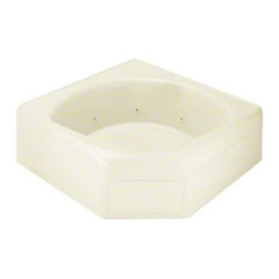 Sterling - Sterling Ensemble 76131100 60 in. x 60 in. Corner Whirlpool Bathtub - 76131100-0 - Shop for Jetted/Whirlpool from Hayneedle.com! TheSterling Ensemble 76131100 60 in. x 60 in. Corner Whirlpool Bathtub has ample deck and seating space plus 7 directional and flow-controlled jets so multiple guests can enjoy warm massaging action! This corner unit is compression-molded from durable and attractive Vikrell material a Sterling exclusive that offers dependable performance and a decor enhancing appeal. The continuous curved back allows for several seat or faucet locations and at the tub features a recessed drain and overflow as well. You may even customize this bathtub with your own choice of finish! Kohler almond Kohler biscuit and pure white are all available with a coating of high-gloss that creates a smooth shiny surface which looks impressive and is very easy to clean. This CSA-certified bathtub measures 60W x 60D x 20H inches with a 20-inch apron and boasts a tongue-and-groove modular design for easy snap together for installation and tile-down application. Receptor only; end walls and back walls can be ordered separately.About SterlingEstablished in 1907 and quickly recognized as a leading manufacturer of faucets and brassware Sterling has been known for their diversity of products and industry-leading designs for over a century. In 1984 Sterling was acquired by Kohler Co. to create a mid-priced full-line plumbing brand and allow Kohler the opportunity to sell their products in retail stores. Over the years Kohler quickly began acquiring other companies to help enhance the Sterling line of products that was quickly growing into the likes of stainless steel sinks compressed fiberglass bathtubs and enclosures and vitreous china products. With that said Kohler was able to take a modestly sized faucet company and turn it into a successful full-line brand. Today Sterling is a brand of Kohler co. and their diversity in products craftsmanship and innovation over a broad range of price points makes them a recognized leader in kitchen and bath design.
