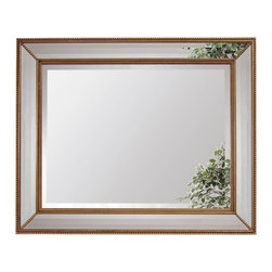 Bassett Mirror - Gold Leaf Beveled Rectangle Wall Mirror - Gold Leaf with Bevel - Rectangle. Measures: 40 in. W x 50 in. H.
