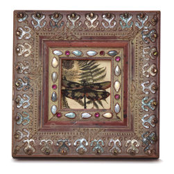 """Traders and Company - Enamel Inlaid 3x3 Wood Picture Frame w/ Jewels, 7.25""""Lx1""""Wx7.25""""H - Winterthur - Crafted from wood and given a classically antiqued look, each frame is dramatically inlaid with swirled resinous enamel. Embedded colorful rhinestone jewels dot the design, adding sparkle and shimmer to your photos. Each frame comes with an attached kickstand for desktop use, or hooks for vertical or horizontal wall hanging. Fits 3""""x3"""" photos. Alternate shapes & styles sold separately. Dimensions:"""
