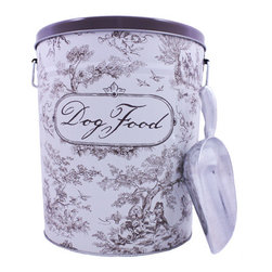 Brown Dog Food Canister - From the Harry Barker Toile Collection. This durable, tin-plated steel food storage canister is FDA approved. Convenient carrying handles and a handy aluminum scoop. Holds 10lbs of dry food. Brown toile pattern, pretty enough to leave out for all to see!