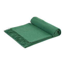 GOYO - GOYO Mongolian Cashmere Home Throw Fringed 79 x 57 in., Green - This luxuriously soft home throw is ideal for cozying up on an evening at home.
