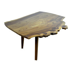 "Cumulus Coffee Cocktail table - Cumulus Coffee table. Named after a type of cloud, this live edge, slab English Elm table with Burl is made with tapered black Walnut legs made from 2"" stock."