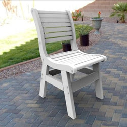Malibu Outdoor Living Newport Dining Chair - The Malibu Outdoor Living Newport Dining Chair suitably enchants any patio, deck or yard space with a subtle grace. This understated Adirondack chair is constructed of environmentally friendly recycled materials. Featuring rust-resistant stainless steel hardware, you can rest assured this chair won't rust from exposure to inclement elements. Choose from a variety of charming colors with color stable UV inhibitors that prevent fading, keeping the chair fresh and vibrant for years. The slatted design gently curves to the back, bringing a relaxed presence perfect for any ornate table layout.About Malibu Outdoor LivingWith a commitment to manufacturing the highest quality products, Malibu Outdoor Living utilizes only the finest materials available. Malibu strives to use green materials whenever possible. Their poly-boards furniture line is manufactured from recycled milk jugs, helping to reduce pollution in the nation's landfills. Using poly-boards also eliminates the need for harvesting wood resources such as red cedar, pine and other species. Always striving to employ a diverse workforce, Malibu Outdoor Living values their employees as their most valuable resource.