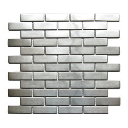 "Eden Mosaic Tile - Large Brick Pattern Eden Mosaic Stainless Steel Tile, Sheet - This is an extremely popular metal mosaic tile that features a large brick pattern. The elongated rectangles provide a modern aesthetic. The tile can be mounted vertically or horizontally so that the individual pieces point either vertically or horizontally depending on what type of effect you want to achieve. This tile is ideal for stainless steel kitchen backsplashes, accent walls, bathroom walls, and bathroom back splashes. The tiles in this sheet are mounted on a nylon mesh which allows for an easy installation. Piece Size: 2.50""x0.8"" (5mm thick). Imported."