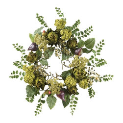 "20"" Artichoke Floral Wreath - Bring a touch of nature's beauty into your home or office space with this enchanting artichoke floral wreath. Brightly hued florets and shapely hearts create a uniquely natural looking flair that cannot be duplicated. A bounty of blooms, rich foliage, artichokes and bursting buds add further appeal to this authentic beauty. A full twenty inches in diameter, this extraordinary creation fits nicely on any entryway, making it the ideal way to welcome guests into your home. Height= 20 in x Width= 20 in x Depth= 20 in"