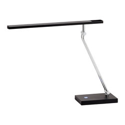 """Adesso Inc. - Saber Led Desk Lamp - The Saber LED desk lamp has a painted metal finish with chrome accents. The long flat balance arm shade contains a full-spectrum 7.2 Watt LED. Available in steel  or black. The light is adjusted with a full-range touch dimmer switch on the rectangular base. Joints at the shade and base allow for a maximum height of 26"""", 12"""" to 22.5"""" Depth. Base: 4.5""""Width, 7.25"""" Depth. Double extension rod from base to shade: 1.5"""" Width, 14"""" Height. Shade: 18"""" Length, 1.5"""" Width. CRI: 90; Color Temp: 4000K; 400 Lumens"""