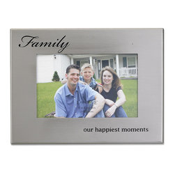 """Lawrence Frames - Brushed Silver Metal 4x6 Family Picture Frame - Brushed silver metal picture frame with """"Family...our happiest moments"""" embossed in black will highlight any treasured photo.    High quality black velvet backing with an easel for horizontal table top display, and hangers for horizontal wall mounting.    Heavy weight 4x6 metal picture frame is made with exceptional workmanship and comes individually boxed."""