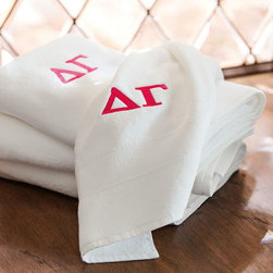 Greek Classic Organic Bath Towels - Sorority sisters are always on the go. Dry off on the double with these superabsorbent, eco-friendly towels; each comes monogrammed with your sorority's Greek letters on a plush white ground.