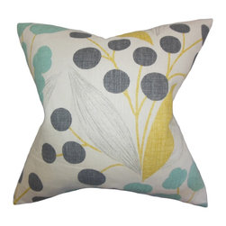 "The Pillow Collection - Geneen Floral Pillow Sunshine 18"" x 18"" - Fresh and exuberant, this throw pillow is a pretty addition to your home. The 100% high-quality linen material features a charming floral pattern in shades of yellow, blue, gray and white. Mix and match with other patterns from our wide selection of toss pillows. Use a few pieces of this 18"" pillow anywhere inside your home. Hidden zipper closure for easy cover removal.  Knife edge finish on all four sides.  Reversible pillow with the same fabric on the back side.  Spot cleaning suggested."