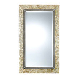 Pearl Mirror - With the Pearl Mirror comes a shimmering lightness and, with it, a glimmering memory of a seaside idyll when days drifted and time tarried. The mirror frame presents a collection of delicately stained mother-of-pearl shell with champagne highlights. The antique silver metal rope detail lends an unobtrusive coastal casual elegance. Dramatic as a stand-alone piece or as part of a wall gallery, the mirror may be hung horizontally or vertically, as you prefer.