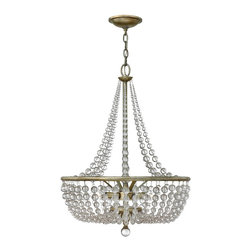 Fredrick Ramond - Fredrick Ramond Caspia Transitional Crystal Chandelier - In a silver leaf finish, the stylish framing of the Fredrick Ramond Caspia Transitional crystal chandelier displays a stunning look to the room. The generous strands of round crystals surround the elegant frame to create a layer of crystal shade. Crystal strands are also draping over the frame to create a graceful accent. Hang this chandelier into your room to create a dazzling ambiance.