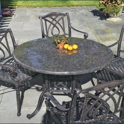 "Granite Table - Granite Table 48"" dia., 29"" H. A powder-coated, cast aluminum base supports a stunning brandy colored granite top with 1 1/2"" bullnose edge that is easy to clean and almost impossible to harm.  Finish: Vintage Antique"