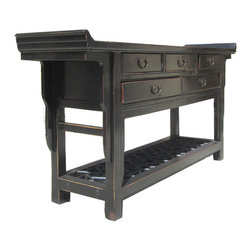 Golden Lotus - Chinese Black 5 Drawers Altar Buffet Table TV Stand Cabinet - Look at this Chinese black altar table which is made of solid elm wood.  Besides it is a altar table, it can be also used as TV entertainment stand cabinet.